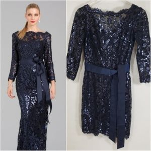 Tadashi Shoji Formal Lace Blue Cocktail Dress Sz 2